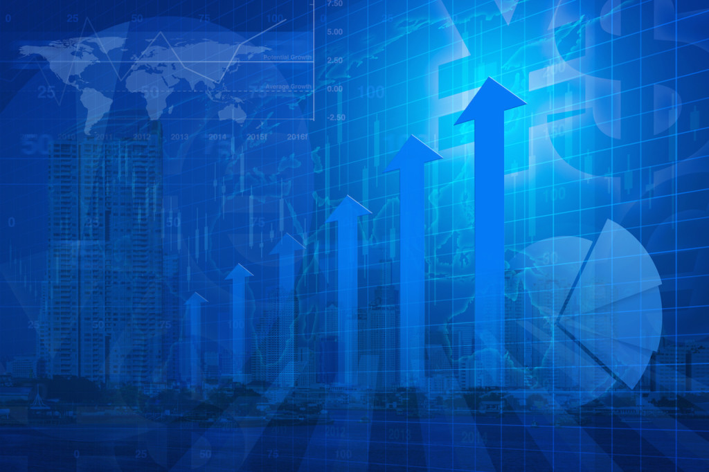 Arrow head with Financial chart and graphs on city background, success global business concept